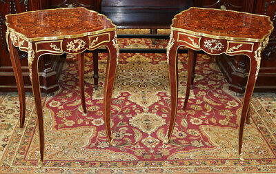 Gorgeous Bronze Mounted Brass Trim Inlaid Walnut Pair French End Tables MINT