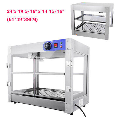 2Tier Commercial Food Pie Warmer Cabinet Glass Counter  Heated Hot Food Display