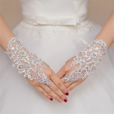 NEW! WHITE Crystal Wedding Bridal Glove Accessory Beaded Lace Fingerless Gloves