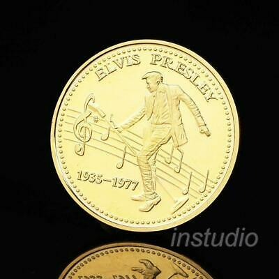 Elvis Presley Gold Foil Clad Coin Commemorative Music Collection Fans Great E8O3