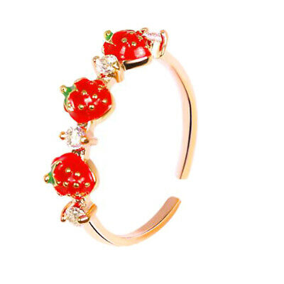 Lovely Red Strawberry Ring Female Inlaid Diamond Index Finger Ring Student H
