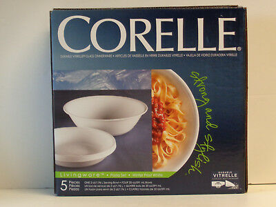 Corelle 5-pc Pasta Bowl Set Winter Frost White NIB 1 2-Qt Bowl and 4 20-oz Bowls