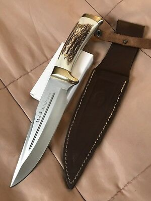 Muela jabali SS Stag Handled Hunting Knife & Leather Sheath Made In Spain