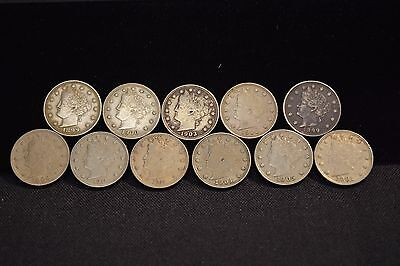 "Liberty ""V"" Nickel 5C Lot (11 Coins) Choice Xf/Au"