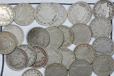 "1900-1903 Liberty ""V"" Nickel 5C Lot (25 Coins) Vf+"