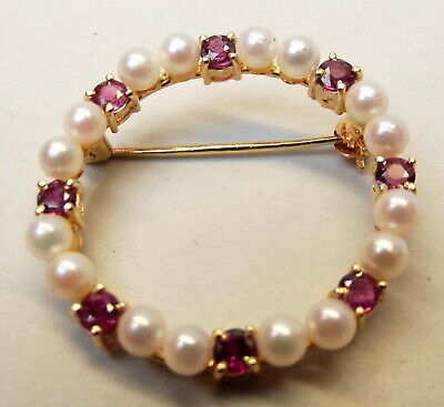 Vtg 14K Gold Cultured Pearl Ruby Brooch Wreath Pin Donut Estate Circle Cluster