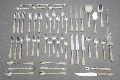 S. Kirk & Son Floral Repousse Sterling Silver Flatware Set, Service for 6, 52 Pc