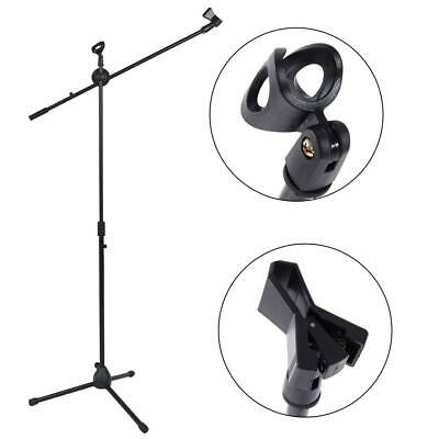 Glarry Metal Microphone Stand Mic Clip Boom Arm Foldable Tripod Black