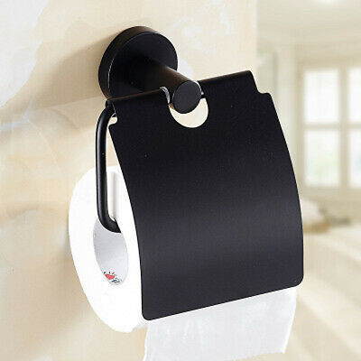 Toilet Paper Roll Holder Hook Hanger Square Cover Black Silver Wall Tissue SS304