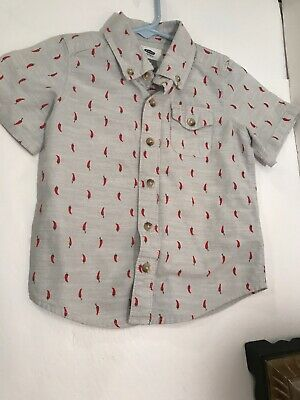 Old Navy Boys Chill Pepper Print Button Down Top Sz 3T