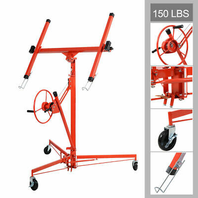 11' Drywall Lift Panel Hoist Dry Wall Jack Rolling Caster Lifter Lockable