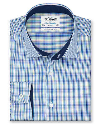 T.M.Lewin Fitted Blue Navy Check Twill Shirt