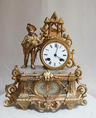 ANTIQUE 1870 FRENCH  CLOCK  Gilt  Ormolu ROMANTIC alabaster shepherd