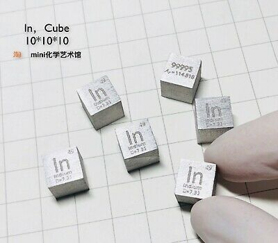 Purity 99.995% Pure Indium In Carved Element Periodic Table 10 mm Cube ~7.3g