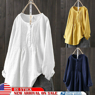 Womens Oversized Top Tunic Blouse Long Sleeve Pleat Loose Cotton Lined Tee Shirt
