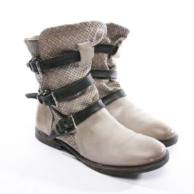 ASH BOTTINES TAILLE D 41 Argent Femmes Chaussures Boots Neuf Cuir Plates