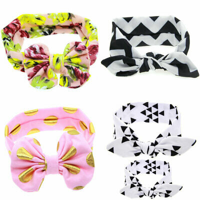 Baby Girls Toddle Kids Gold Dots Bow Knot Headbands Hair Band Accessory