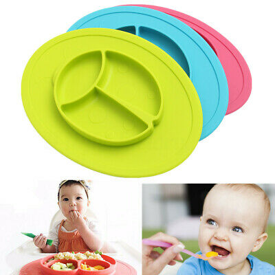 Silicone Baby Plate Kids Food Dish Suction Tray Placemat Bow Food Grade Placemat