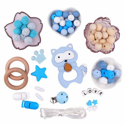 Dummy Clip Starter Kit Pacifier Accessories Silicone Wooden Teething Beads DIY