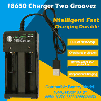 HOT 3.7V Dual Slot Plug Charger USB Model Intelligent 18650 Li-ion Vape Battery