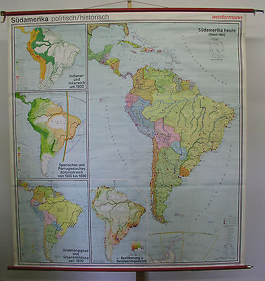 Schulwandkarte Wall Map South America Political Historical 1982 6M 4x12M
