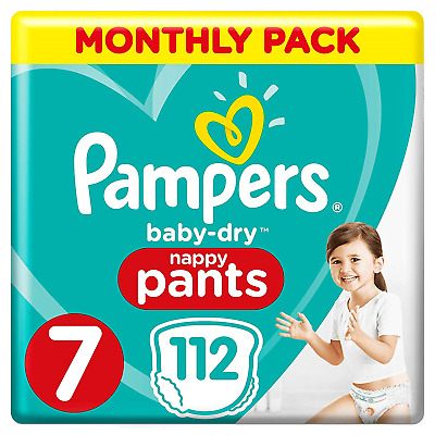 Pampers Baby-Dry Nappy Pants Size 7, 112 Nappy Pants, Monthly Saving Pack, with