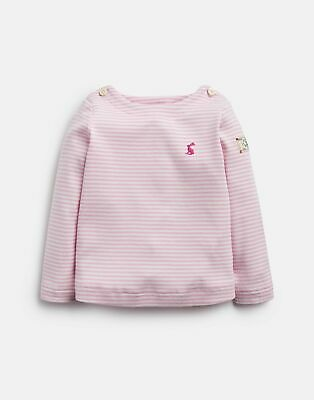 Joules 207253 Striped Jersey Top Shirt in PINK Cream STRIPE