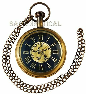 Nautical Antique Marine Brass Roman Dial Pocket Watch Necklace~Collectible Clock