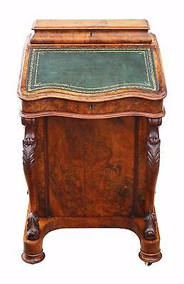 Antique quality Victorian C1870 burr walnut davenport writing table desk