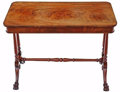 Antique quality Victorian C1880 flame mahogany stretcher centre table
