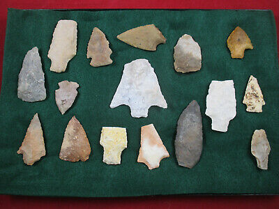 NICE FLORIDA-GEORGA PALEO POINT;  Indian Artifacts;  arrowheads collection 16 pc