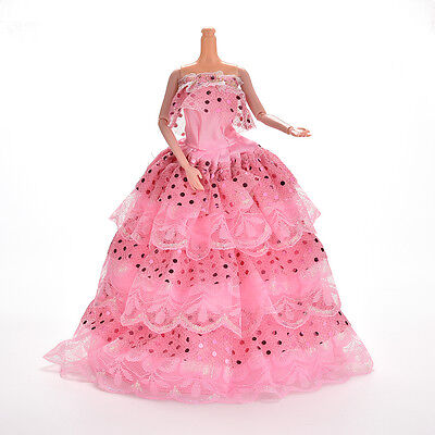 1 Pcs Pink Handmade Fashion Sequin Gown Dress For  Doll Girl BirthdayHICAPL-v