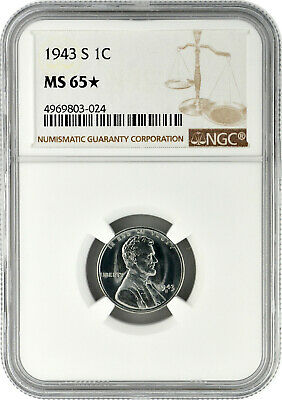 1943 S 1c Lincoln Steel Wheat Cent NGC MS 65 Star Exceptional Eye Appeal