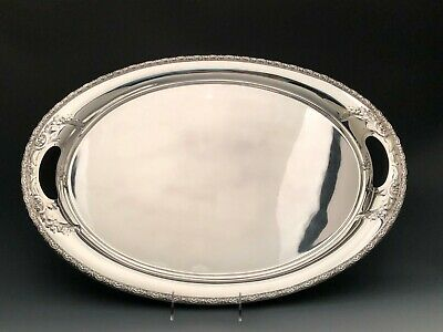 """Prelude chased by International Sterling Silver, large Waiter with Handles 22.5"""""""