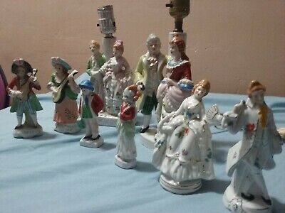 box lot made in Japan two lamps and 6 figurines vintage 1940-60 Junk drawer