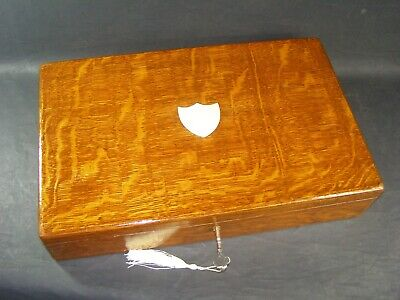 Antique A4 Tiger Oak Document Box c1890 Working Lock & Key Brass Shield Center