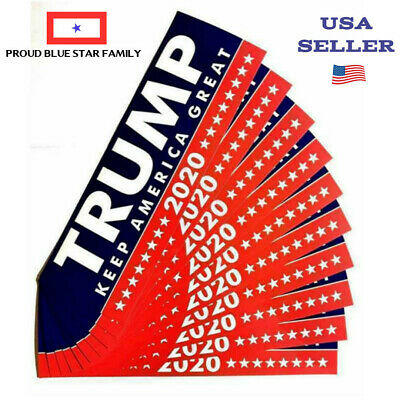 SET OF 10 DONALD TRUMP 2020 BUMPER STICKERS with free coin - USA SELLER
