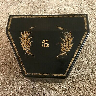 Antique Chinese Export Gilt Wooden Black Lacquer Stationary / Desk / Letter Box