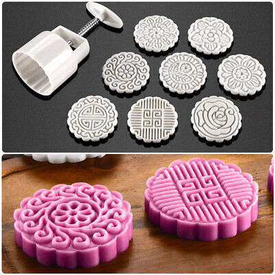 1Pcs Mooncake Mold +8 Flower Stamps DIY Baking Pastry Round Moon Cake Mould Tool
