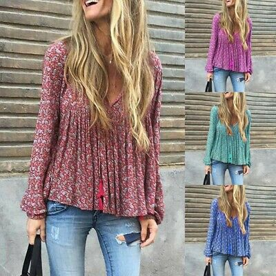 Fashion Women Retro Boho Floral Blouse Long Sleeve Top Ladies Tunic T Shirts Hot