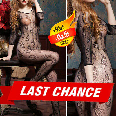 Gothic Black 3/4 Sleeve Bodystocking Floral Lined Fishnet Stockings Lingerie OS