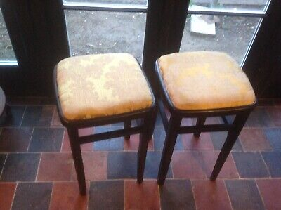 A Pair Of Black Stools With Vintage Damask Fabric Mustard Gold Furiture