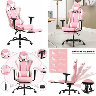Racing Style Leather Gaming Chair Breathable Ergonomic Office Computer GIRL PINK
