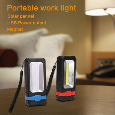 USB Rechargeable Solar COB LED Work Light Magnet Flashlight Torch Working Lamp