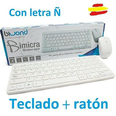 Teclado Y Raton Inalambrico Blanco Negro Para Mac Pc Window Con Letra Ñ Wireless