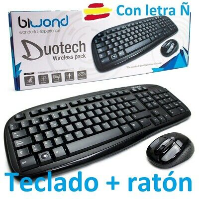 Teclado Y Raton Inalambrico Negro Para Mac Pc Windows Wifi Con Letra Ñ Wireless
