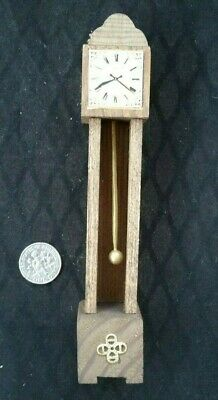 Vintage Dollhouse Miniature Grandfather Clock Handcrafted Wood Furniture Room