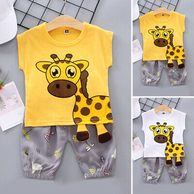 Baby Crew Neck Tops+short Giraffe Printed Set Sleeveless Jogger Clothing