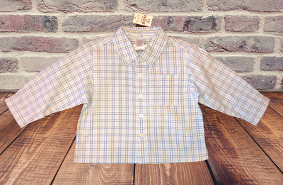 New CHILDREN'S PLACE Shirt Baby Boys Size 12 Months Blue Plaid Long Sleeves NWT