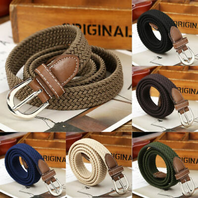 Men Elastic Fabric Woven Casual Belt Pin Buckle Expandable Braided Stretch Belts